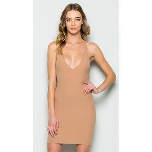 Makers of Dreams Latte Backless Tank Mini Dress